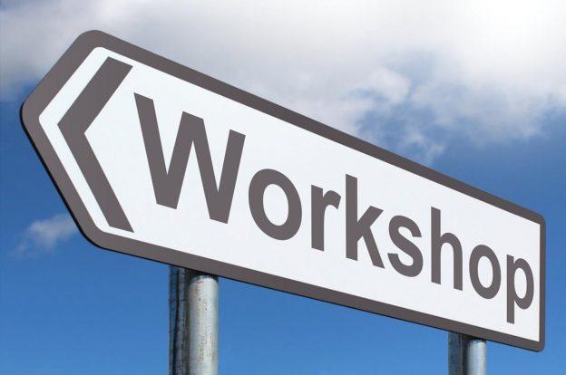 """Schild mit der Aufschrift """"Workshop"""""""